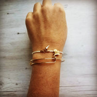 Gold Ginkgo Bangle - adjustable thin wire bracelet - little tiny 18K plate gingko charm - simple minimalist stacking piece