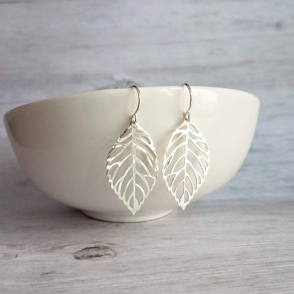 Silver Leaf Earrings - thin filigree cut out delicate tree leaves - upgrade hooks to .925 sterling silver - autumn fall birthday gift for her - Constant Baubling