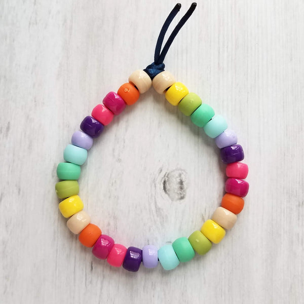 Rainbow Sun Bracelet - big bead pony crow rollers on friendship knot tie cord - VSCO girl trend - large chunky beads