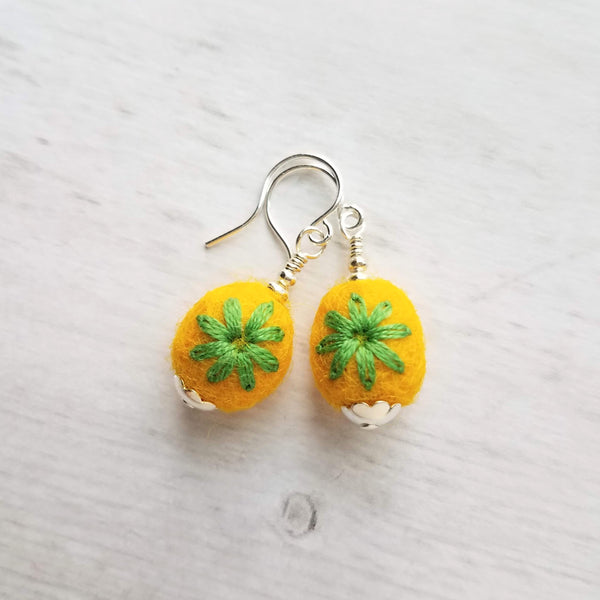 Yellow Wool Earrings - soft oblong needle fuzzy felt balls with green embroidered flowers, choose .925 sterling silver or plated hooks