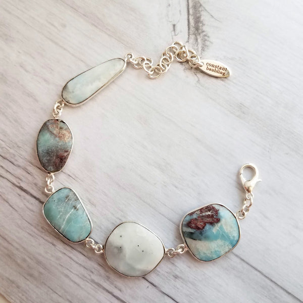 Larimar Bracelet - sky blue large asymmetrical gemstones w/ silver frame & adjustable chain, enlighten and heal stone