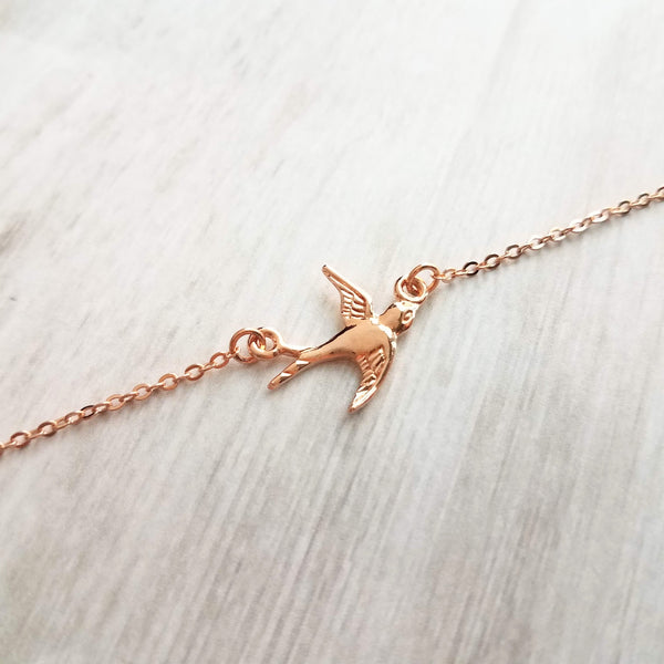 Free Bird Necklace - 14K rose gold plated flying sparrow pendant on delicate chain, freedom necklace, new beginnings, open wing bird,