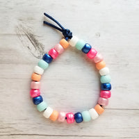Preppy Bead Bracelet - designer rainbow sun mix assorted big roller pony knot tie on cord - blue pink white