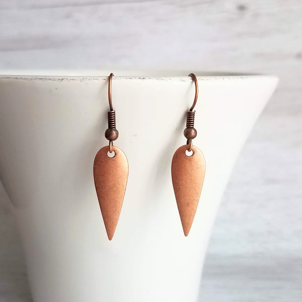 Long Copper Drop Earrings - lightweight inverted teardrop dangle - primitive antique rustic oxidized red brown boho jewelry - Constant Baubling