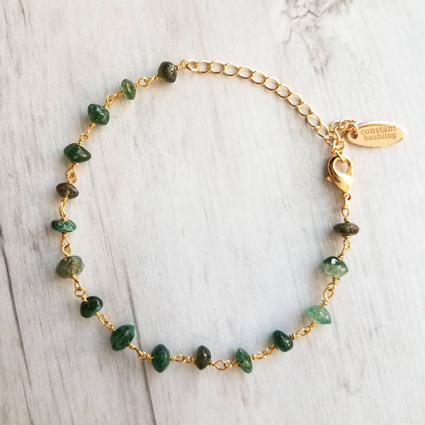 Aventurine Bracelet on dainty gold adjustable chain, tiny green gemstone beads, thin dainty delicate jewelry, Aries & Leo zodiac stone