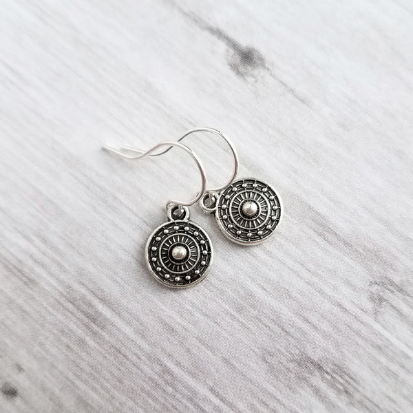 Little Silver Drop Earrings - tiny round antique oxidized medallion / tribal shield style dangle charms - upgrade hooks to .925 sterling silver - Constant Baubling