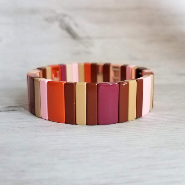 Enamel Tile Bracelet - elastic bead stretch bangle, chunky multicolor pink orange gold beads, boho VSCO girl jewelry trend, ceramic metal