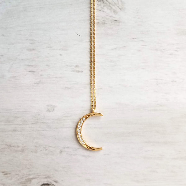 Crescent Moon Necklace - CZ cubic zirconia embedded in thin gold celestial pendant on delicate 14K gold fill or plated thin chain, astronomy gift