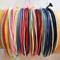 Thin Cord Bracelet - fine waxed cotton multicolor / rainbow thread rope - adjustable stacking 9 strand strings w/ letter initial disk in gold or silver - friendship bracelet - Constant Baubling