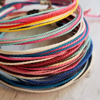 Blue String Bracelet - thin cotton multicolor / rainbow threads - adjustable w/ letter initial disk in gold or silver - stacking friendship bracelet - Constant Baubling