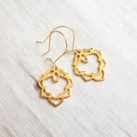 Gold Lotus Earrings - 18K gold plate flower charm on latching kidney hook - goddess jewelry- rebirth triumph purity symbolic gift - Constant Baubling