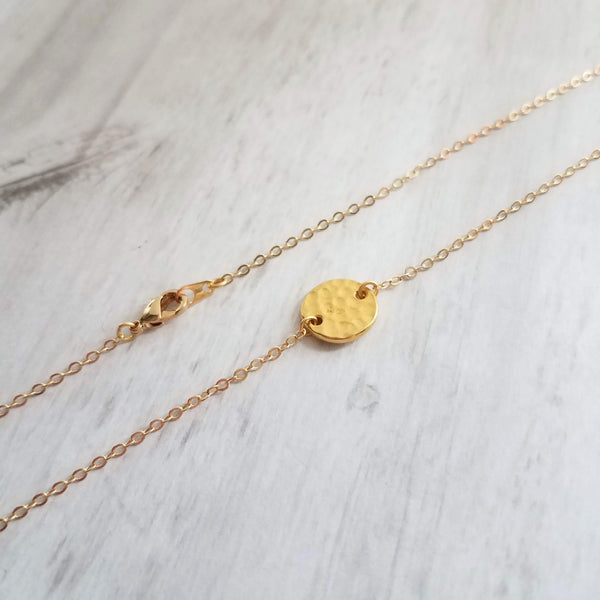 Gold Disc Necklace - hammered 22K gold plate round flat geometric circle coin disk charm - delicate chain - simple minimalist everyday wear