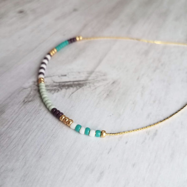 Seed Bead Necklace - color block beaded segment pattern tiny glass slider beads on 14K gold plated delicate snake chain - purple, mint, turquoise, white, gold colors