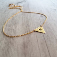 Gold Triangle Necklace - personalized little raw brass triangle flag pennant pendant hand stamped initial letter - simple dainty chain