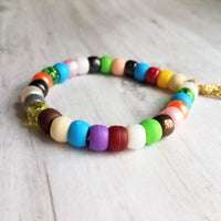Rainbow Bead Bracelet - VSCO girl large roller sun friendship tie on cord - faux glass / stone - Constant Baubling