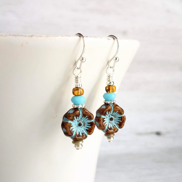 Tropical Flower Earrings - mottled brown glass Hibiscus with aqua patina, stacked with other glass and metal accents - choose sterling silver or silver plate hooks