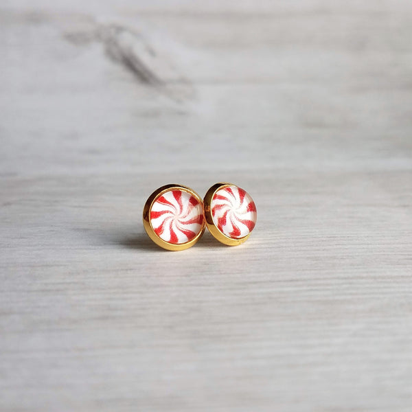 Red White Peppermint Earrings - small mint swirl candy studs in gold brass or stainless steel under round glass, winter jewelry, Christmas stocking stuffer