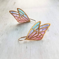 Wing Earrings - 14K gold fill hook w/ large 2 inch rainbow butterfly angel wing - transluscent colorful stained glass style outline