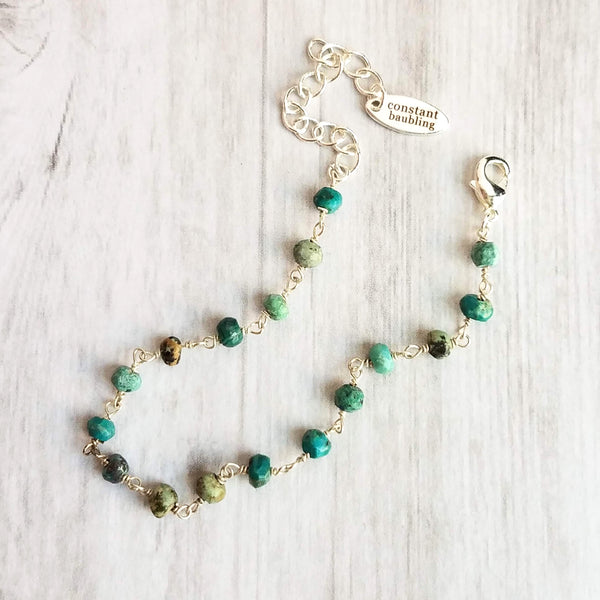 Teal Stone Bracelet - Chrysocolla tiny gemstones w/ silver adjustable chain, delicate little bright blue green semi precious beads