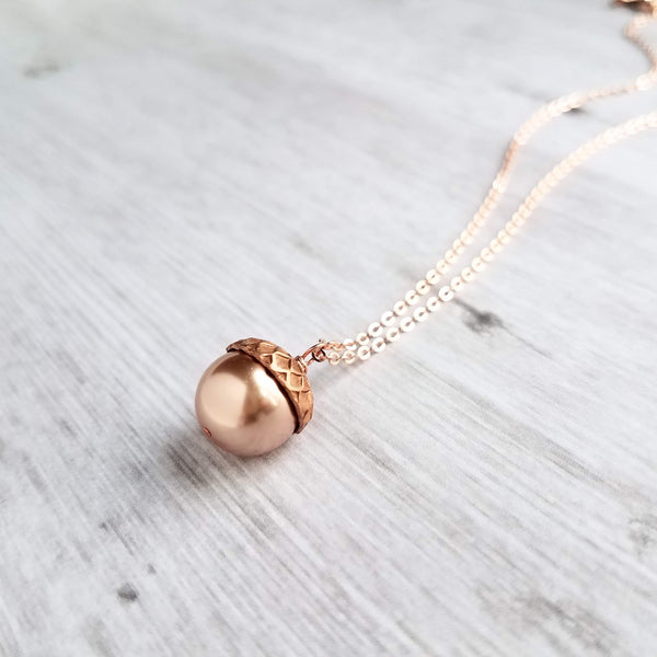 Rose Gold Acorn Necklace - Swarovski pink pearl pendant in antique copper pink cap on thin delicate chain - fall autumn birthday gift for her