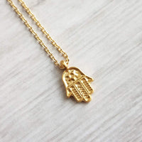 Hamsa Necklace - tiny 18K gold plated palm amulet pendant on dainty thin chain, Jewish Buddhist Islamic protection symbol to ward off evil