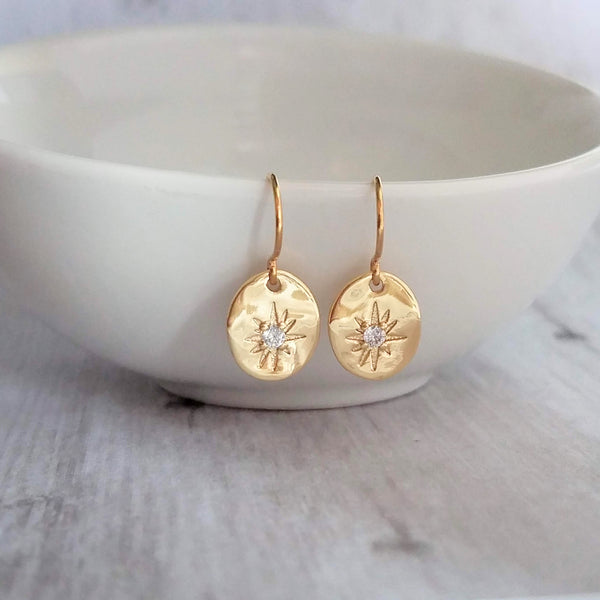 North Star Earrings - tiny gold cubic zirconia set in uneven organic oval shape charm - celestial night ski wish gift - 14K solid gold hook option