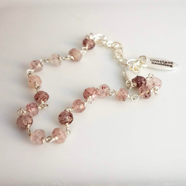 Strawberry Quartz Pink Stone Bracelet - delicate pale gemstones w/ silver adjustable chain, Aries zodiac stone, love energy vibration, heart chakra jewelry