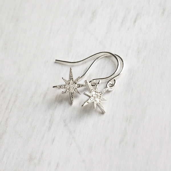 Silver Star Earrings - sparkling cubic zirconia tiny star burst - upgrade little hooks to .925 sterling silver - celestial guide North Star Polaris astronomy gift - Constant Baubling