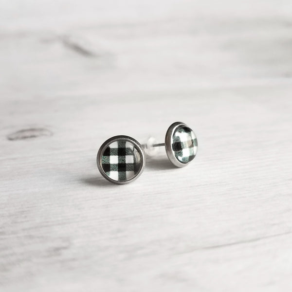 Black White Plaid Earrings - 10mm buffalo check print in stainless steel stud under round glass, winter jewelry, stocking stuffer