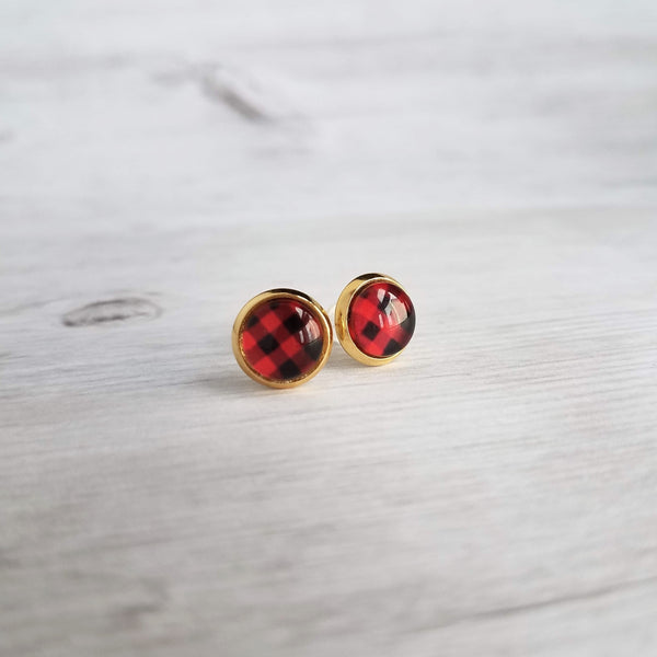 Red Buffalo Check Earrings - plaid print in gold plated or stainless steel stud under round glass, winter jewelry, stocking stuffer, 10mm