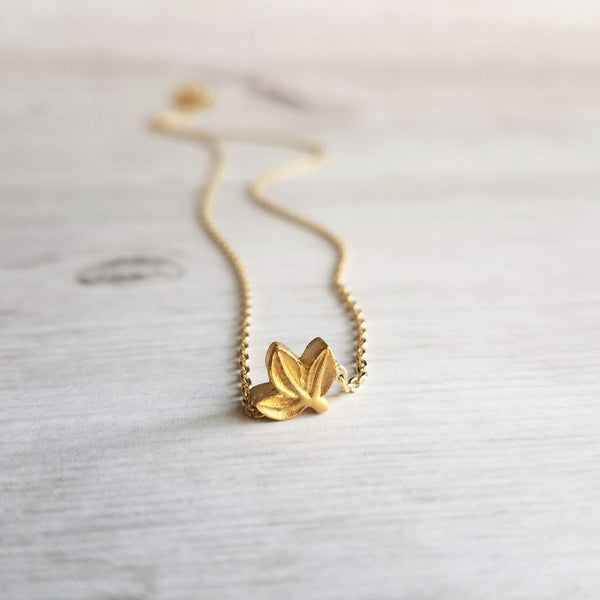 Simple Leaf Necklace - 14K gold plated slider bead leaves pendant on dainty thin chain, 14K gold fill chain available