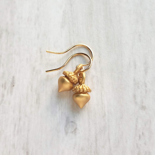 Small Gold Acorn Earrings - golden miniature seeds on simple little lightweight delicate hooks - fall minimalist squirrel nuts - autumn birthday gift - Constant Baubling