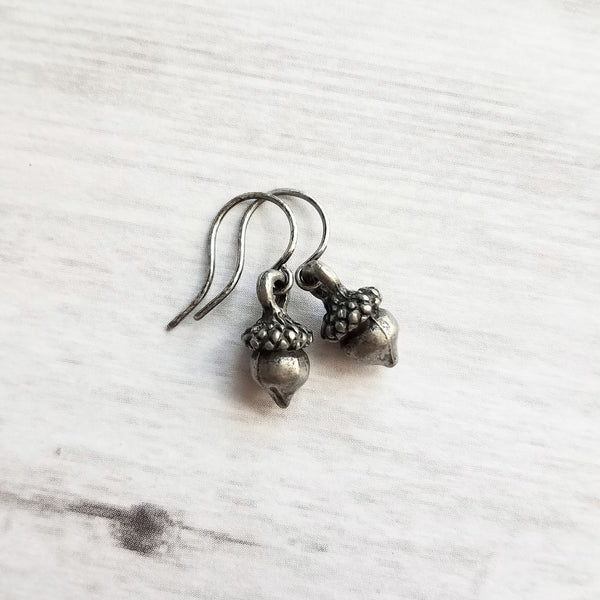 Silver Acorn Earrings - tiny gunmetal / antique silver grey little mini acorns on small simple delicate hooks - Minimalist Squirrel Nuts