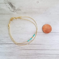 Double Chain Seed Bead Bracelet - turquoise / gold tiny beads on delicate thin 14K gold plated snake chain - Constant Baubling