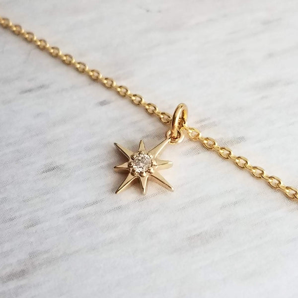 Superstar Necklace - 14K gold plated tiny cubic zirconia mini pendant on delicate thin chain - celestial sky North Star - astronomer gift