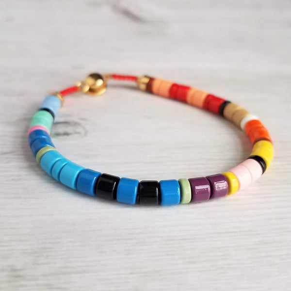 Thick Enamel Round Bead Bracelet - multicolor mix cord bracelet, rainbow cylinder beads, boho VSCO girl jewelry trend, ceramic metal