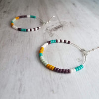 Beaded Silver Earrings - large thin wire hoops strung with tiny glass beads on simple ear wires, everyday handmade jewelry - mint, turquoise, mustard, white colors