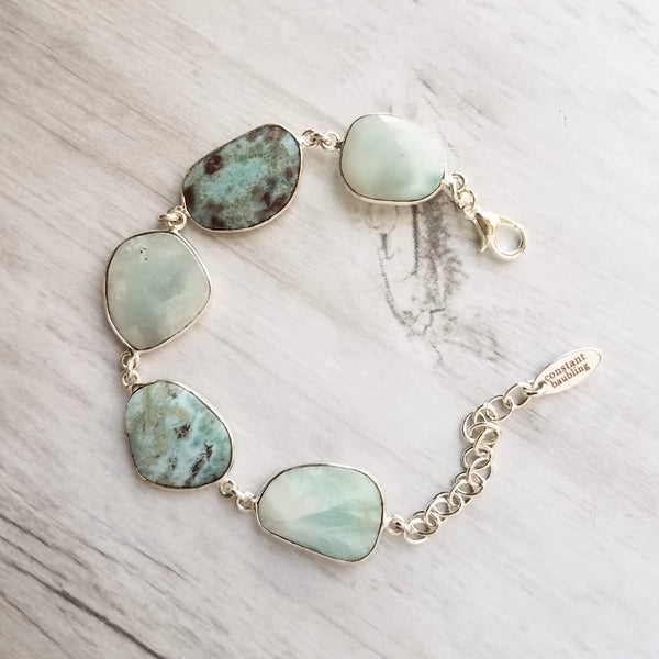 Blue Larimar Stone Bracelet - sky color large chunky asymmetrical gemstones in silver frames & adjustable extension chain, enlighten and heal stone