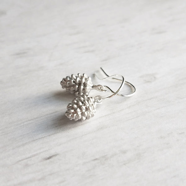 Silver Pine Cone Earrings - small matte silver plated mini pinecone charms on tiny silver plated hooks - minimalist and simple
