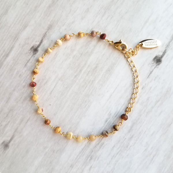 Mookaite Jasper Stone Bracelet - tiny colorful gemstone beads w/ adjustable gold chain, red pink beige yellow tan cream purple brown