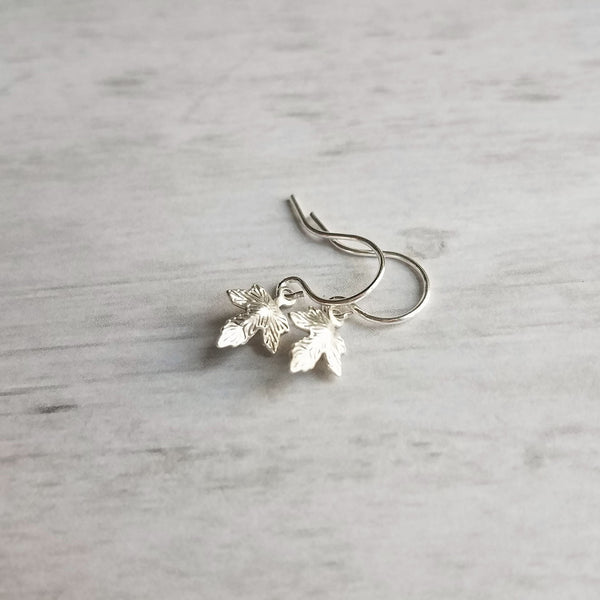 Small Leaf Earrings - little tiny micro mini antique silver maple leaves - charm dangle extra minimalist aged rustic tree autumn child