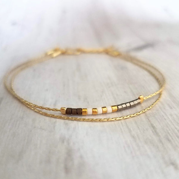 Double Chain Thin Bead Bracelet - tiny little gold white bronze brown gunmetal silver mini beads on delicate 14K gold plated snake chain - single hook clasp - Constant Baubling