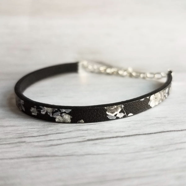Black Vegan Leather Bracelet- white / grey floral & leaves print, silver adjustable chain, slim narrow bracelet