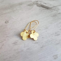 Gold Quatrefoil Earrings - small 4-lobe clover leaves on latching kidney hook - 4 leaf clover good luck charm - St Patrick's Day jewelry gift - Constant Baubling