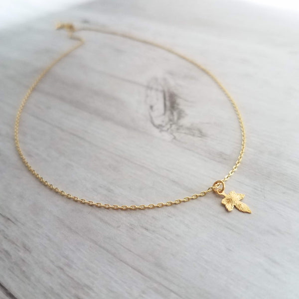 Tiny Gold Maple Leaf Necklace - 14K gold plated brass small mini pendant on delicate thin chain - fall tree theme gift