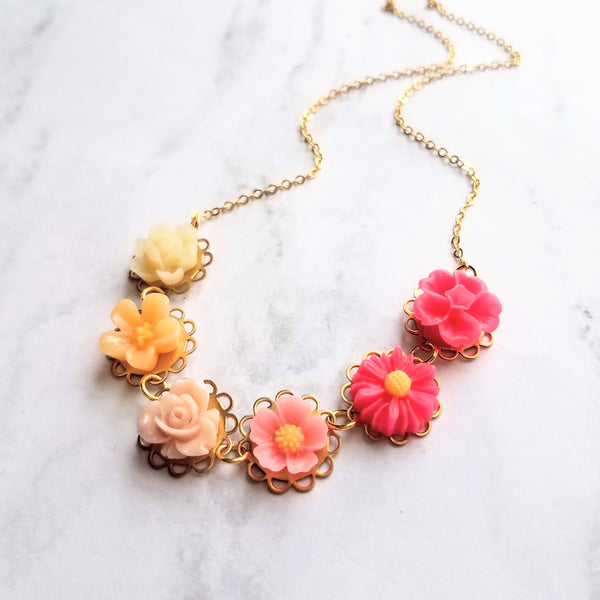 Colorful Flower Necklace - ombre floral charms on scalloped gold setting - hot pink fuchsia to cream white - lacy pretty feminine rose daisy