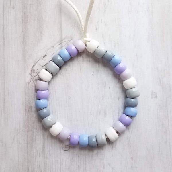 Purple Bead Bracelet - ombre shades of pony crow rollers in lilac, grey, white on silky knot adjustable cord - VSCO girl trend