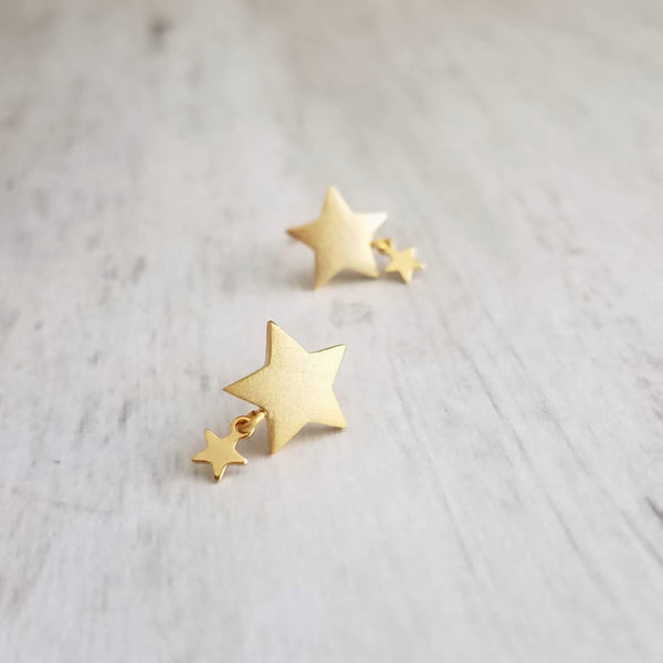 Twinkle Little Star Earrings - gold wishing star with small shiny star dangle, .925 sterling silver posts, make a wish earrings, night sky astronomy earrings