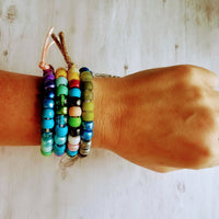 Multicolor Large Bead Bracelet - rainbow sun mix assorted big faux stone / glass rollers - friendship knot tie on cord - out of office trend - Constant Baubling