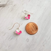 Pansy Earrings - little flowers in hot pink / white enamel on silver rhodium backing and small .925 sterling silver hooks - bridal bridesmaid jewelry gift - Constant Baubling